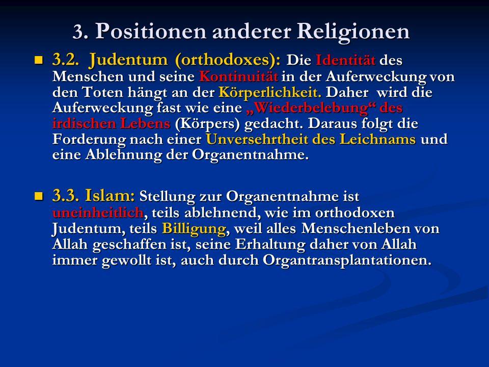 3. Positionen anderer Religionen 3.2.