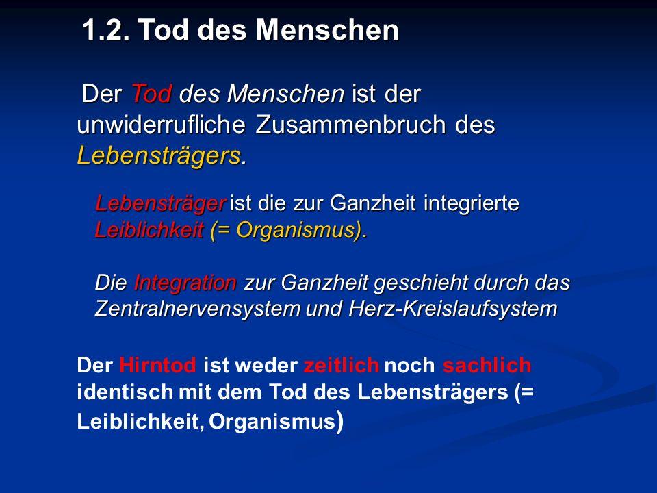 """1.3.Werden Organe von """"Sterbenden oder """"Toten entnommen."""