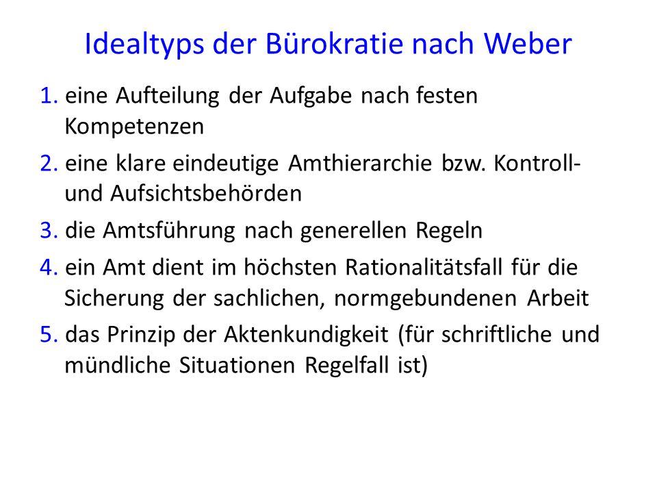 Idealtyps der Bürokratie nach Weber 1. eine Aufteilung der Aufgabe nach festen Kompetenzen 2. eine klare eindeutige Amthierarchie bzw. Kontroll- und A