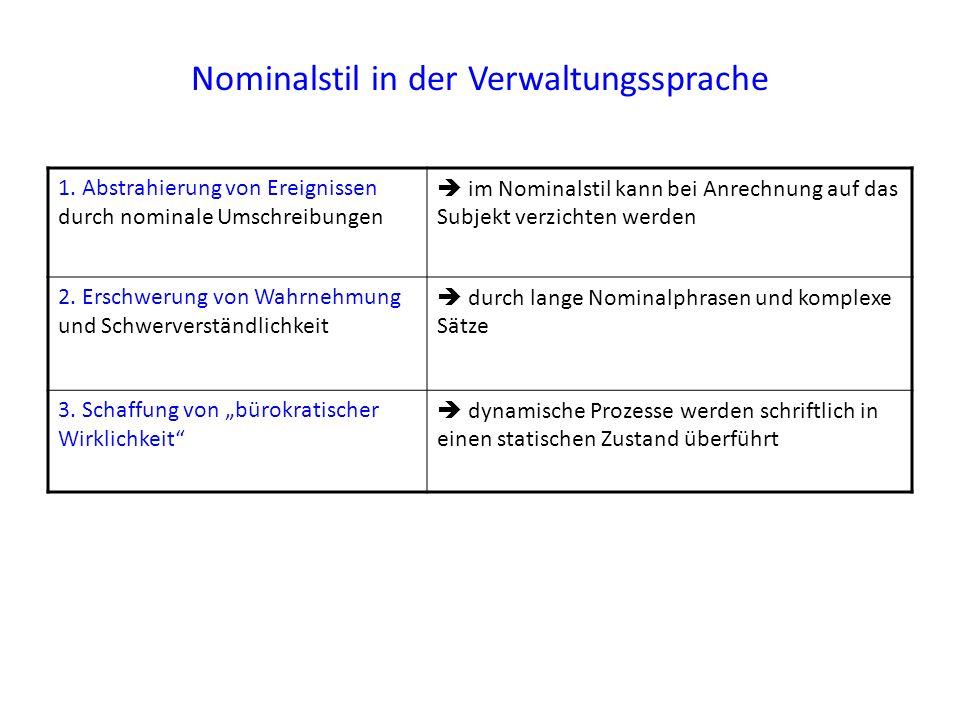 Nominalstil in der Verwaltungssprache 1. Abstrahierung von Ereignissen durch nominale Umschreibungen  im Nominalstil kann bei Anrechnung auf das Subj