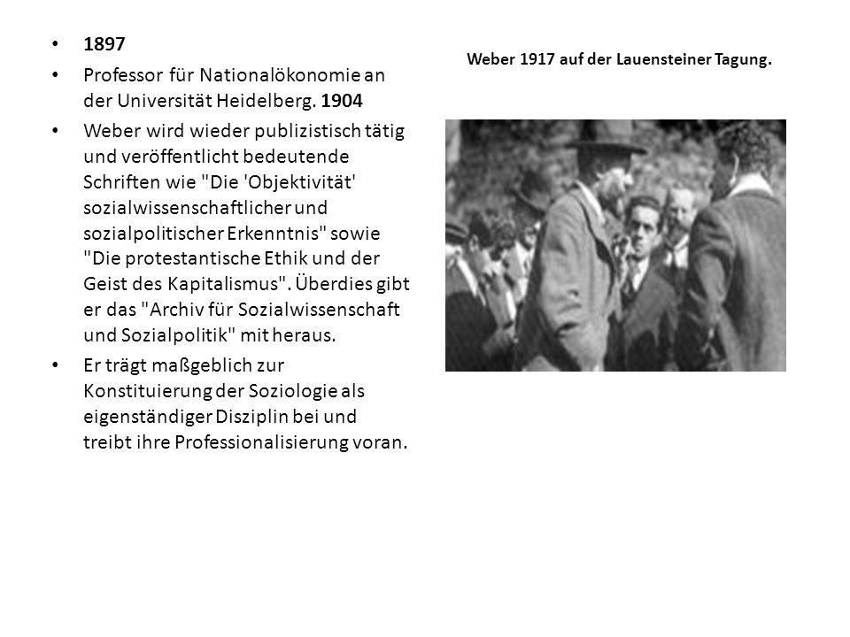 1897 Professor für Nationalökonomie an der Universität Heidelberg. 1904 Weber wird wieder publizistisch tätig und veröffentlicht bedeutende Schriften