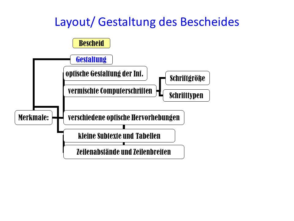 Layout/ Gestaltung des Bescheides Schriftgröße verschiedene optische Hervorhebungen Merkmale: vermischte Computerschriften Schrifttypen Zeilenabstände