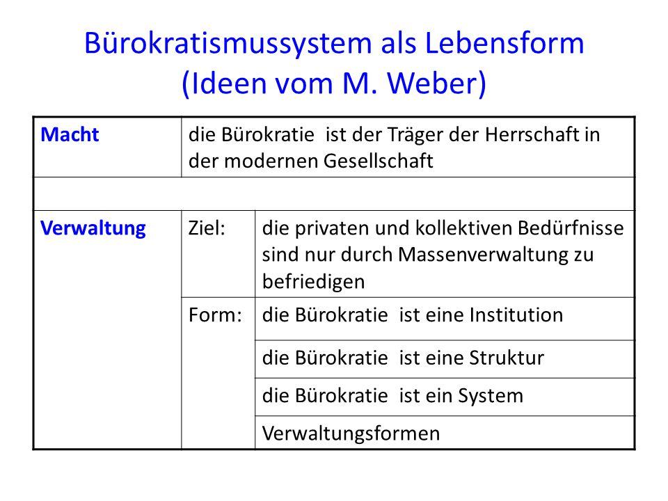 Bürokratismussystem als Lebensform (Ideen vom M. Weber) Machtdie Bürokratie ist der Träger der Herrschaft in der modernen Gesellschaft VerwaltungZiel: