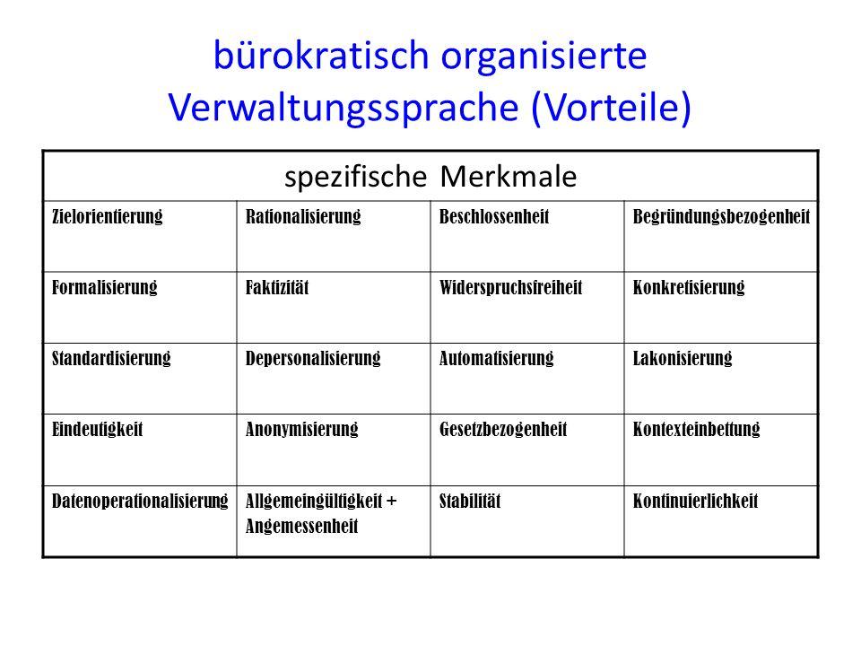 bürokratisch organisierte Verwaltungssprache (Vorteile) spezifische Merkmale ZielorientierungRationalisierungBeschlossenheitBegründungsbezogenheit For