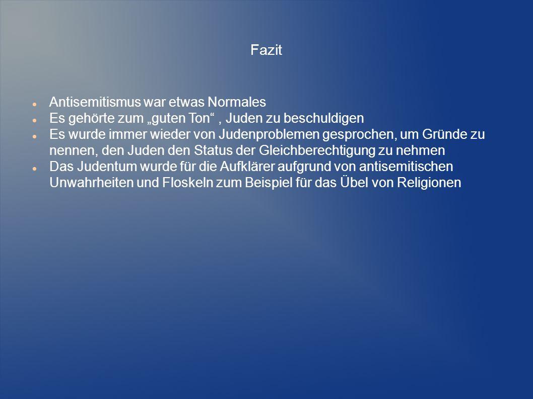 Quellen http://www.sueddeutsche.de/politik/judenhasser-und-komponist-der- paranoia-fall-richard-wagner-1.1678112 http://www.sueddeutsche.de/politik/judenhasser-und-komponist-der- paranoia-fall-richard-wagner-1.1678112 http://www.berliner-zeitung.de/in-seinem-antisemitismus-stand-wilhelm-ii-- hitler-kaum-nach-1-bekenntnisse-des-monarchen-in-einer-neuen- veroeffentlichung--das-beste-waere-gas---wetterte-der-kaiser-17103334 http://www.berliner-zeitung.de/in-seinem-antisemitismus-stand-wilhelm-ii-- hitler-kaum-nach-1-bekenntnisse-des-monarchen-in-einer-neuen- veroeffentlichung--das-beste-waere-gas---wetterte-der-kaiser-17103334 http://www.zeit.de/1994/48/wilhelm-ii-das-beste-waere-gas http://www.heise.de/tp/artikel/41/41064/1.html https://de.wikipedia.org/wiki/Immanuel_Kant http://www.welt.de/kultur/history/article108335884/Die-grossen-Aufklaerer- waren-oft-Judenhasser.html http://www.welt.de/kultur/history/article108335884/Die-grossen-Aufklaerer- waren-oft-Judenhasser.html