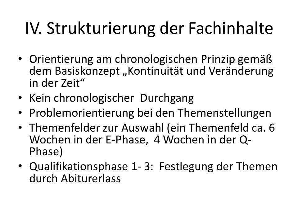 """IV. Strukturierung der Fachinhalte Orientierung am chronologischen Prinzip gemäß dem Basiskonzept """"Kontinuität und Veränderung in der Zeit"""" Kein chron"""
