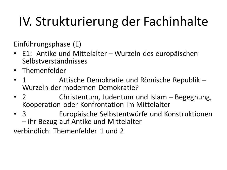 IV. Strukturierung der Fachinhalte Einführungsphase (E) E1:Antike und Mittelalter – Wurzeln des europäischen Selbstverständnisses Themenfelder 1Attisc