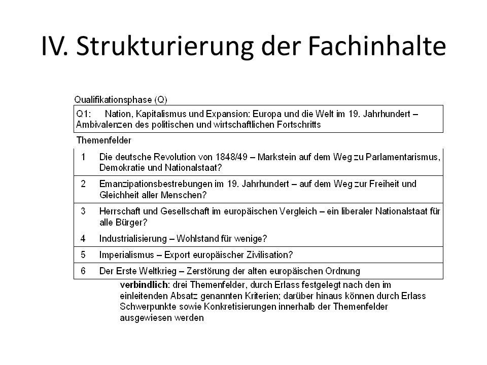 IV. Strukturierung der Fachinhalte