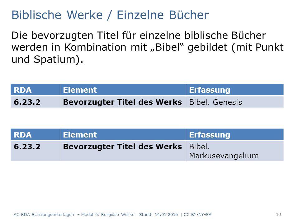 """Biblische Werke / Einzelne Bücher Die bevorzugten Titel für einzelne biblische Bücher werden in Kombination mit """"Bibel gebildet (mit Punkt und Spatium)."""