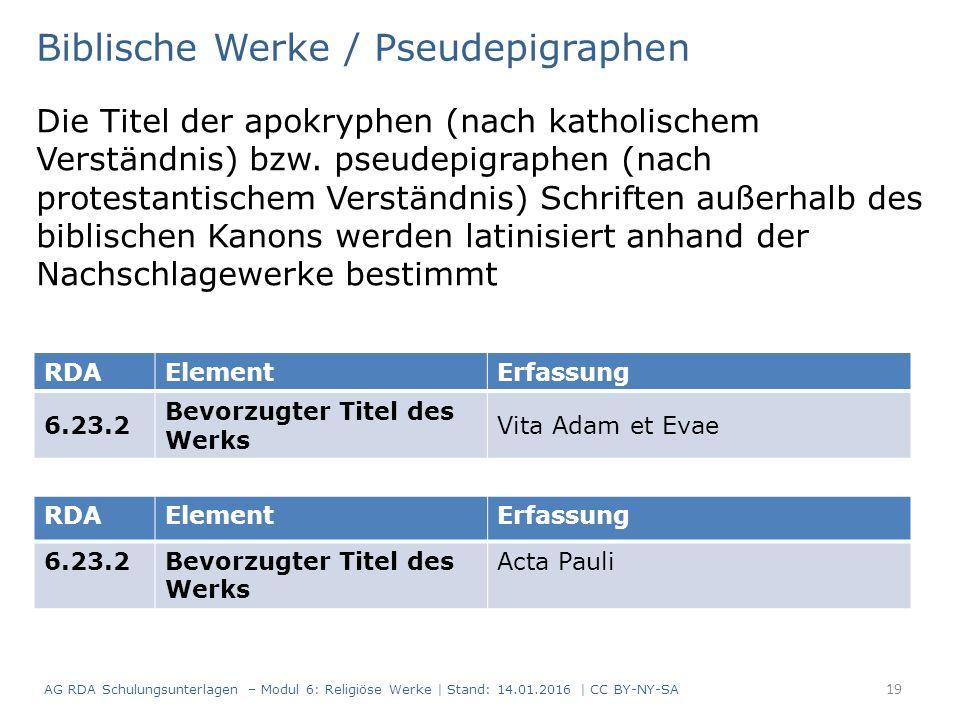 Biblische Werke / Pseudepigraphen Die Titel der apokryphen (nach katholischem Verständnis) bzw.