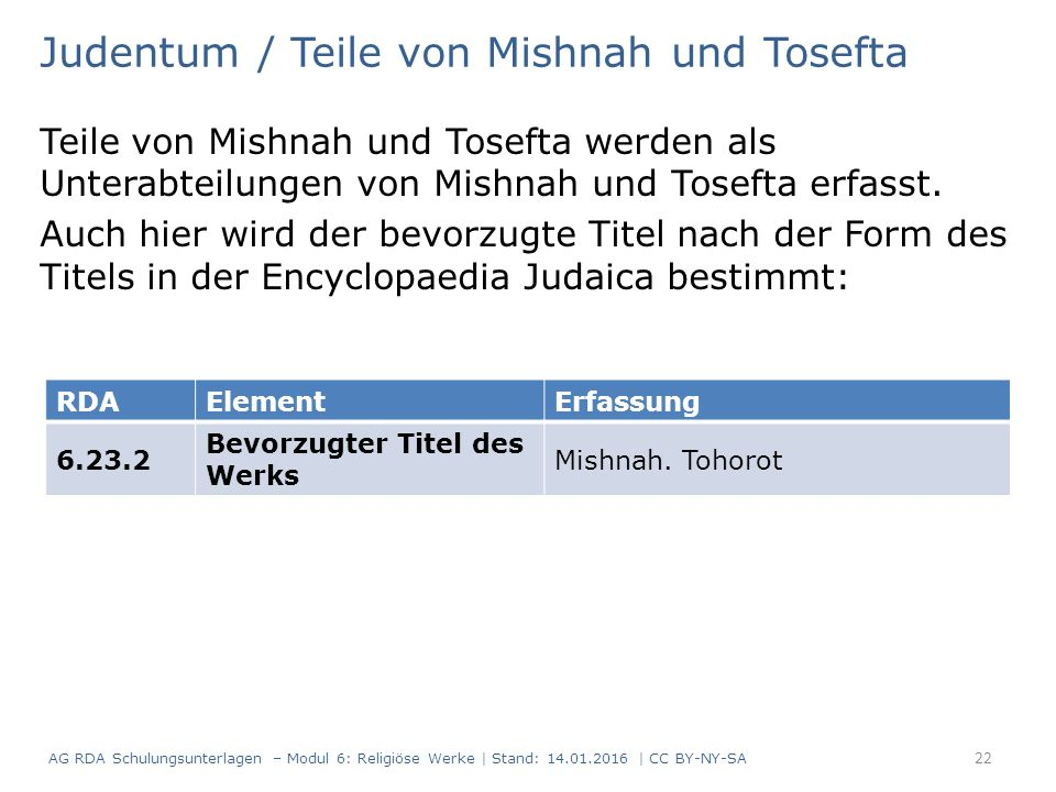 Judentum / Teile von Mishnah und Tosefta Teile von Mishnah und Tosefta werden als Unterabteilungen von Mishnah und Tosefta erfasst.