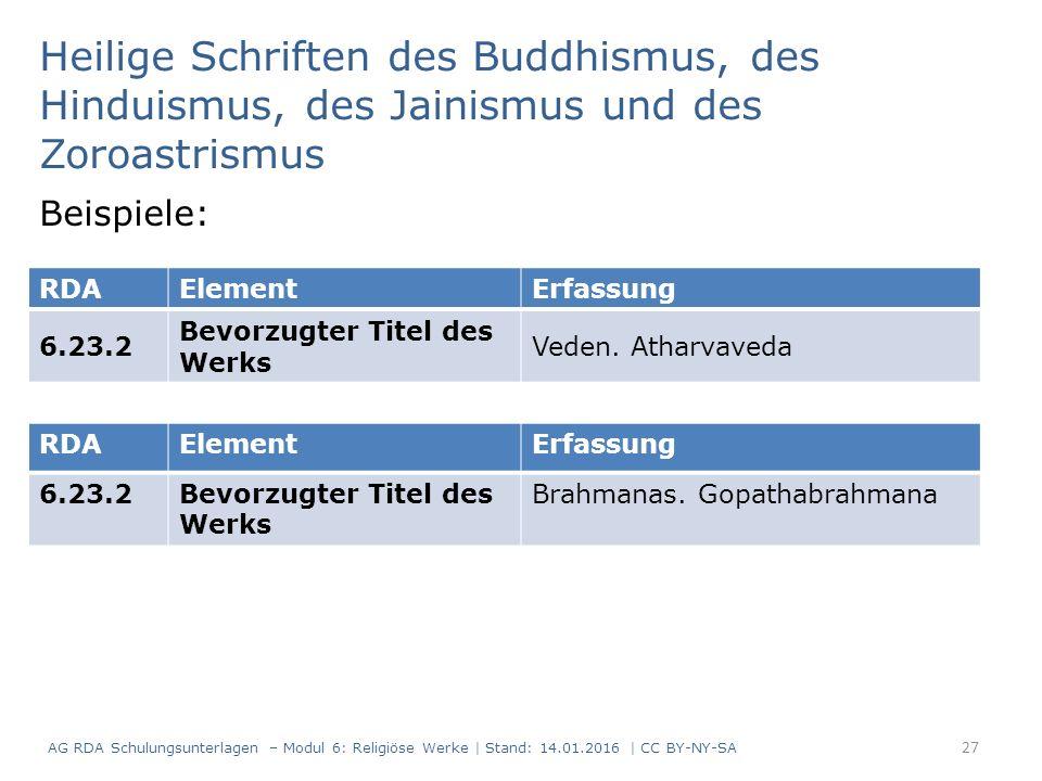 Heilige Schriften des Buddhismus, des Hinduismus, des Jainismus und des Zoroastrismus Beispiele: RDAElementErfassung 6.23.2 Bevorzugter Titel des Werks Veden.