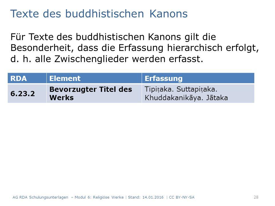 Texte des buddhistischen Kanons Für Texte des buddhistischen Kanons gilt die Besonderheit, dass die Erfassung hierarchisch erfolgt, d.