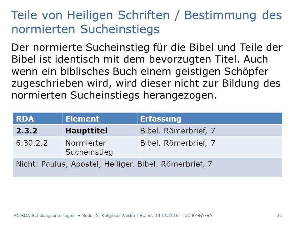Teile von Heiligen Schriften / Bestimmung des normierten Sucheinstiegs Der normierte Sucheinstieg für die Bibel und Teile der Bibel ist identisch mit dem bevorzugten Titel.