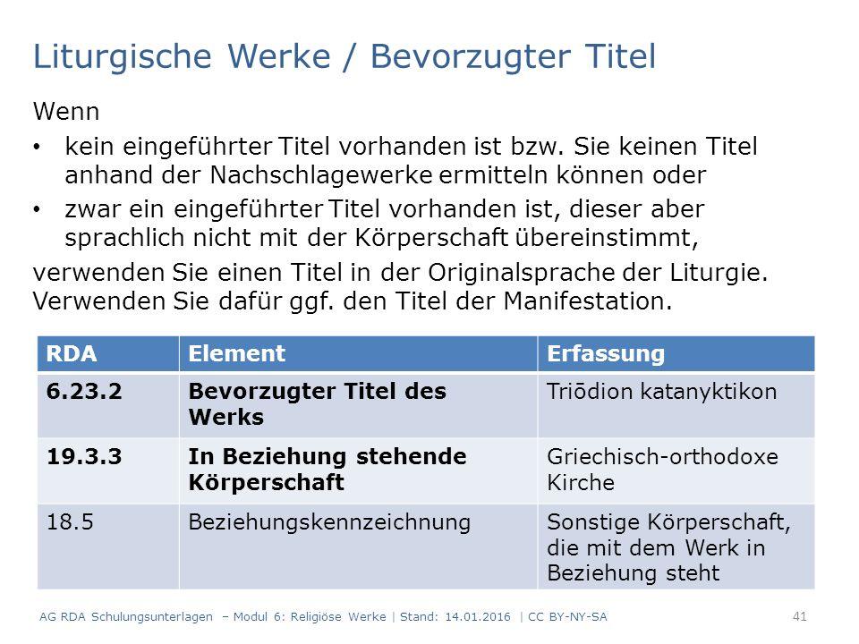 Liturgische Werke / Bevorzugter Titel Wenn kein eingeführter Titel vorhanden ist bzw.