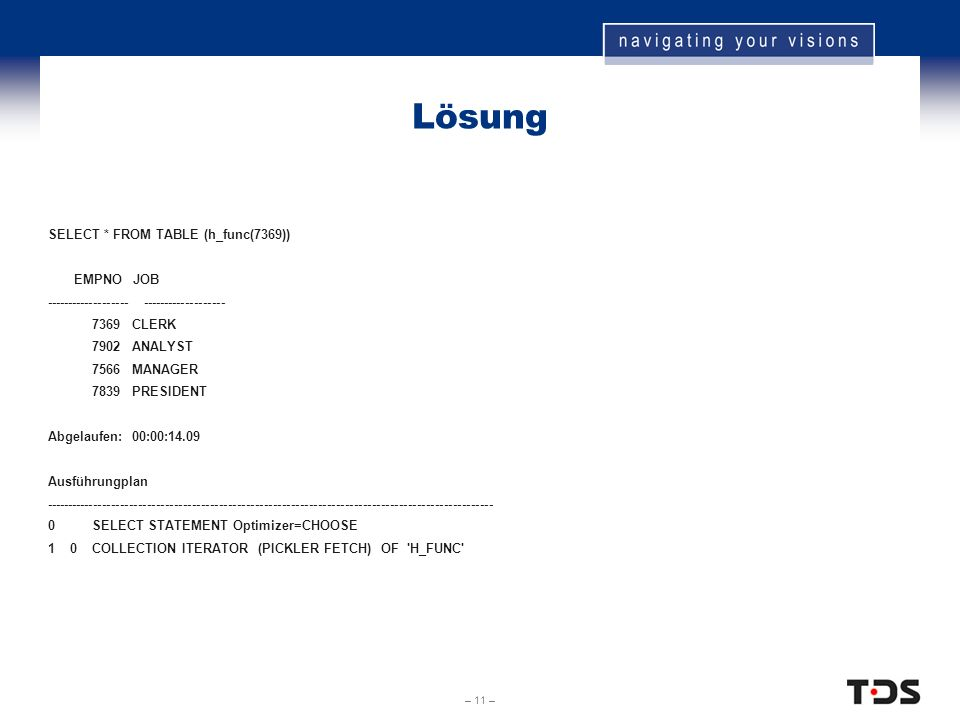 – 11 – Lösung SELECT * FROM TABLE (h_func(7369)) EMPNO JOB ------------------- 7369 CLERK 7902 ANALYST 7566 MANAGER 7839 PRESIDENT Abgelaufen: 00:00:1
