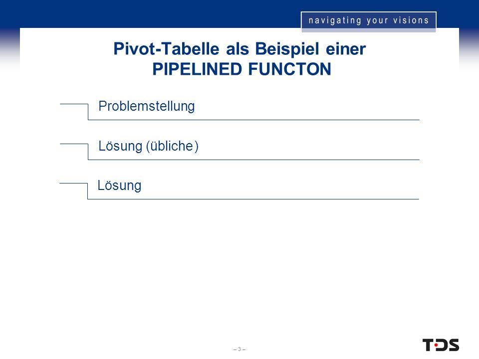 – 3 – Pivot-Tabelle als Beispiel einer PIPELINED FUNCTON Problemstellung Lösung (übliche) Lösung