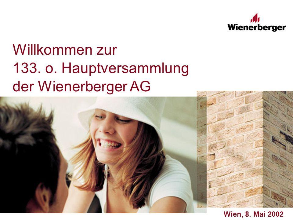 Willkommen zur 133. o. Hauptversammlung der Wienerberger AG Wien, 8. Mai 2002