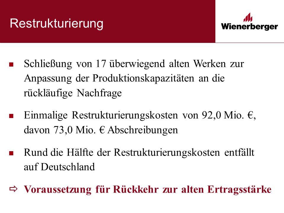 Restrukturierung Schließung von 17 überwiegend alten Werken zur Anpassung der Produktionskapazitäten an die rückläufige Nachfrage Einmalige Restrukturierungskosten von 92,0 Mio.