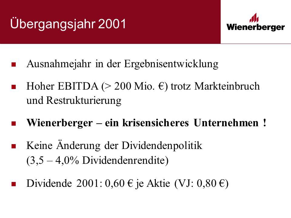 Übergangsjahr 2001 Ausnahmejahr in der Ergebnisentwicklung Hoher EBITDA (> 200 Mio. €) trotz Markteinbruch und Restrukturierung Wienerberger – ein kri