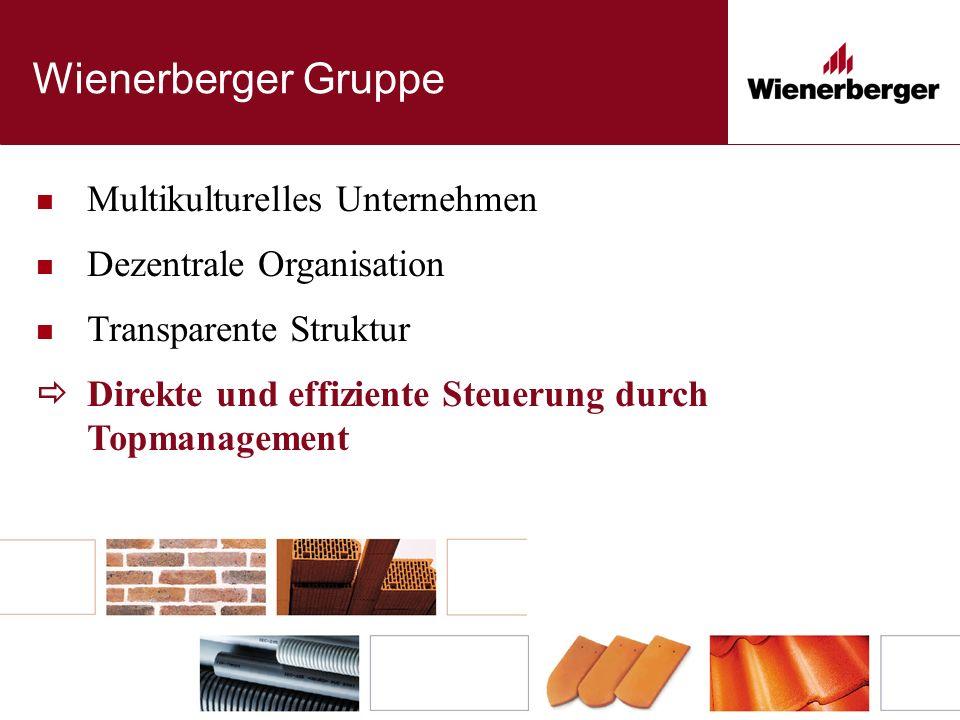 Wienerberger Gruppe Multikulturelles Unternehmen Dezentrale Organisation Transparente Struktur  Direkte und effiziente Steuerung durch Topmanagement