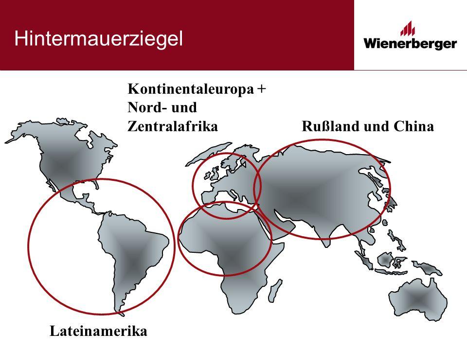 Hintermauerziegel Lateinamerika Rußland und China Kontinentaleuropa + Nord- und Zentralafrika