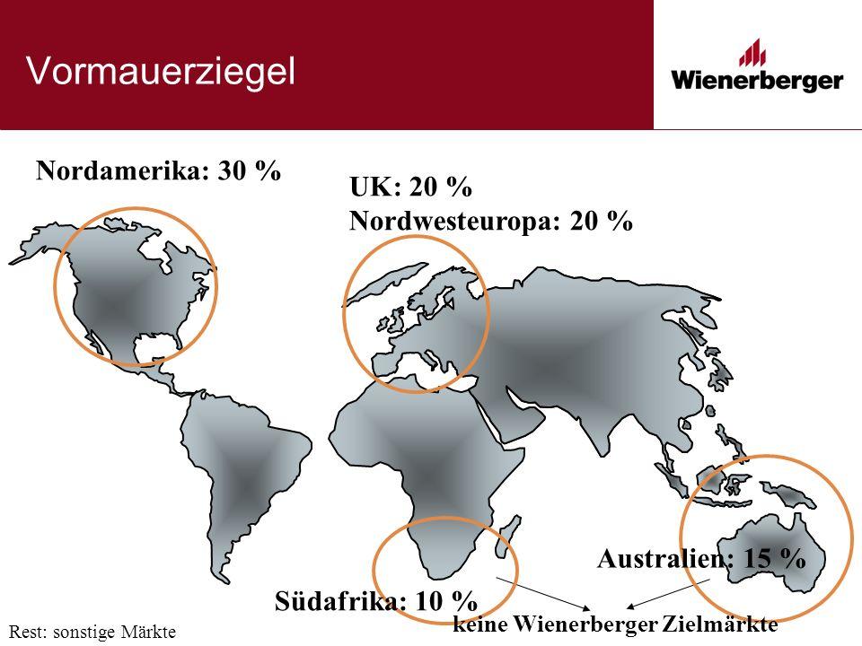 UK: 20 % Nordwesteuropa: 20 % Vormauerziegel Nordamerika: 30 % Rest: sonstige Märkte Australien: 15 % Südafrika: 10 % keine Wienerberger Zielmärkte