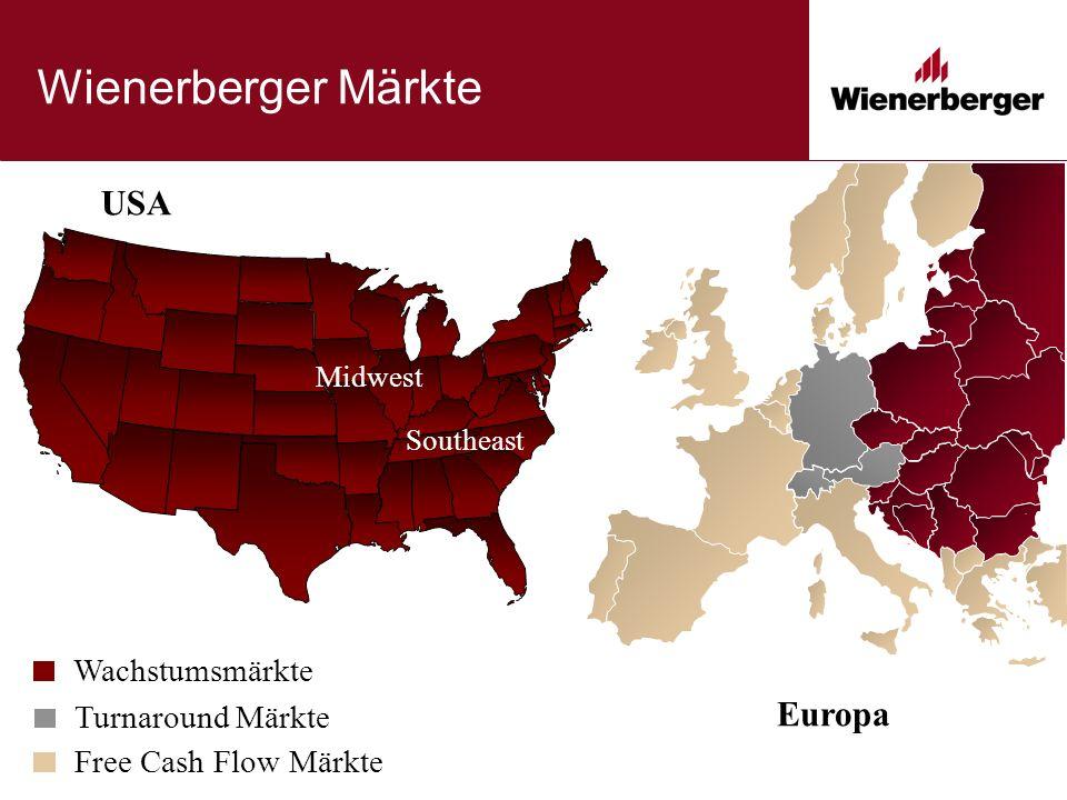 Wienerberger Märkte USA Europa Southeast Midwest Turnaround Märkte Wachstumsmärkte Free Cash Flow Märkte