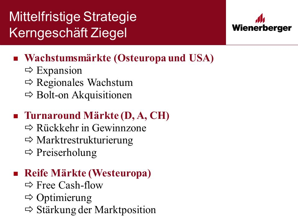 Mittelfristige Strategie Kerngeschäft Ziegel Wachstumsmärkte (Osteuropa und USA)  Expansion  Regionales Wachstum  Bolt-on Akquisitionen Turnaround
