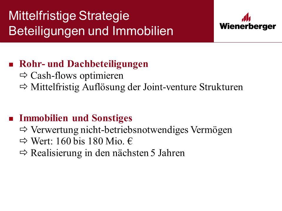 Mittelfristige Strategie Beteiligungen und Immobilien Rohr- und Dachbeteiligungen  Cash-flows optimieren  Mittelfristig Auflösung der Joint-venture Strukturen Immobilien und Sonstiges  Verwertung nicht-betriebsnotwendiges Vermögen  Wert: 160 bis 180 Mio.