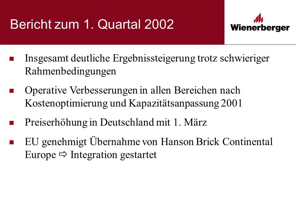 Bericht zum 1. Quartal 2002 Insgesamt deutliche Ergebnissteigerung trotz schwieriger Rahmenbedingungen Operative Verbesserungen in allen Bereichen nac