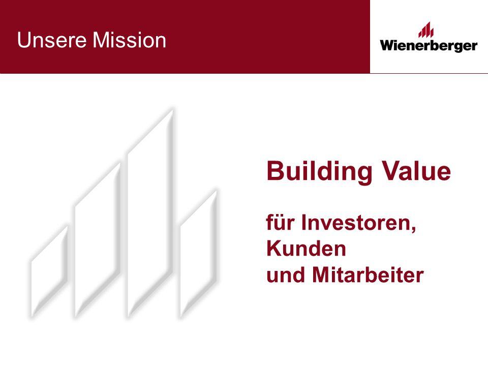 Building Value für Investoren, Kunden und Mitarbeiter Unsere Mission