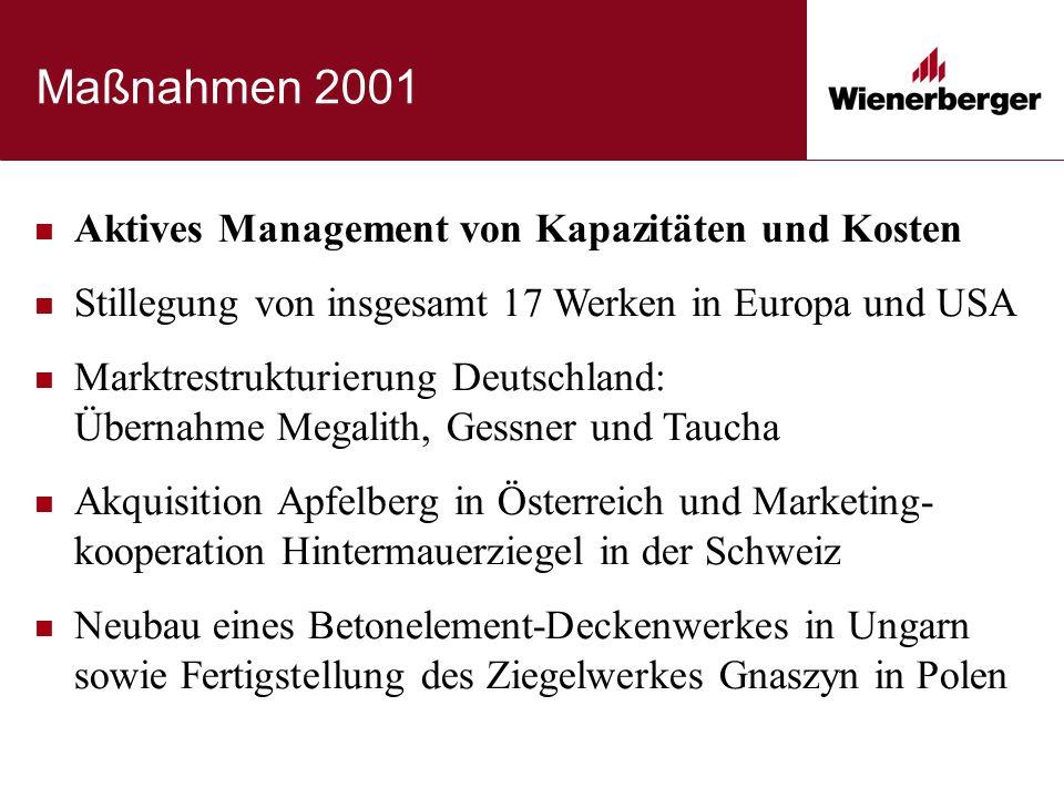 Maßnahmen 2001 Aktives Management von Kapazitäten und Kosten Stillegung von insgesamt 17 Werken in Europa und USA Marktrestrukturierung Deutschland: Ü