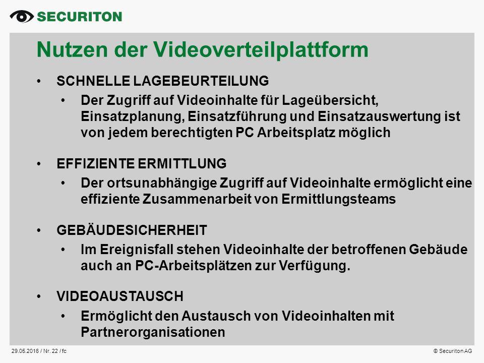 29.05.2016 / Nr. 22 /fc© Securiton AG Nutzen der Videoverteilplattform SCHNELLE LAGEBEURTEILUNG Der Zugriff auf Videoinhalte für Lageübersicht, Einsat