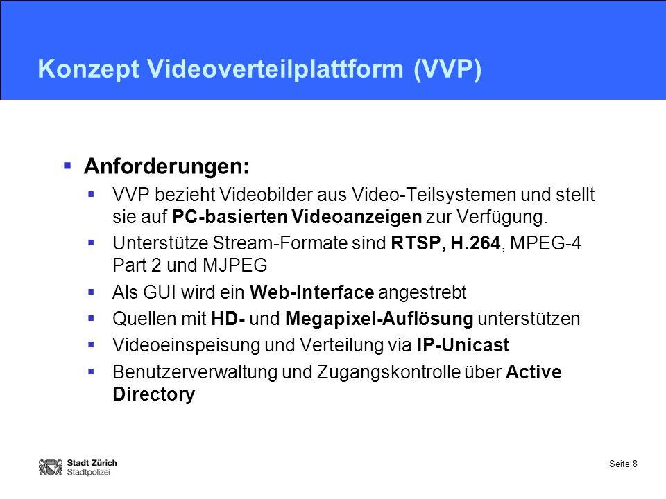 Seite 8 Konzept Videoverteilplattform (VVP)  Anforderungen:  VVP bezieht Videobilder aus Video-Teilsystemen und stellt sie auf PC-basierten Videoanzeigen zur Verfügung.
