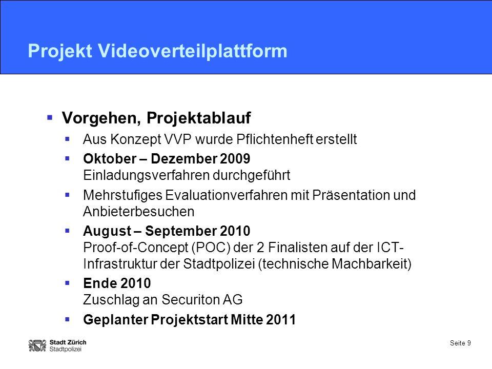 Seite 9 Projekt Videoverteilplattform  Vorgehen, Projektablauf  Aus Konzept VVP wurde Pflichtenheft erstellt  Oktober – Dezember 2009 Einladungsver