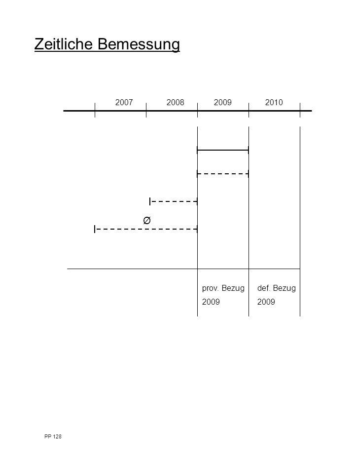 Zeitliche Bemessung 2007200820092010 prov. Bezug 2009 def. Bezug 2009 Ø PP 128