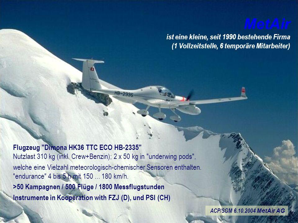MetAir ist eine kleine, seit 1990 bestehende Firma (1 Vollzeitstelle, 6 temporäre Mitarbeiter) Flugzeug Dimona HK36 TTC ECO HB-2335 Nutzlast 310 kg (inkl.