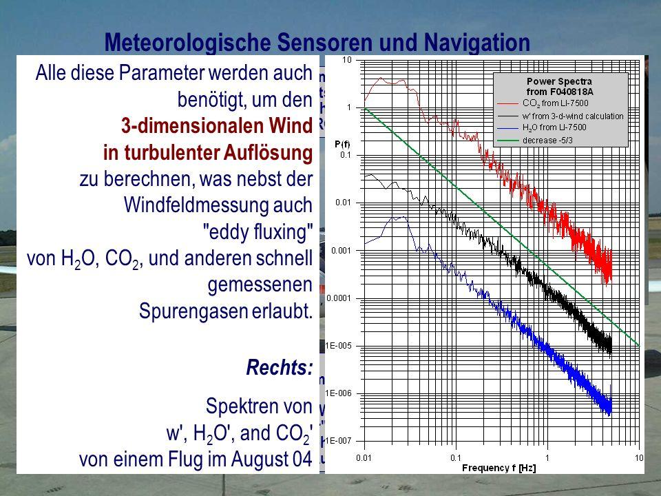 2 Temperatursensoren Weitere Basisparameter: - 5-Loch-Sonde für Drucke und Anströmwinkel - 3-Achsen Accelerometer - Position, Geschwindigkeit UND LAGEWINKEL (carrier phase detecting TANS Vector ) - Höhe über Grund (Messung mit Radiohöhenmesser und/oder von DTM (SRTM mit <90 m Auflösung) 3 Feuchtemessungen: - Taupunktspiegel - open path IRGA (LI-7500) - closed IRGA (LI-6262 mod) Meteorologische Sensoren und Navigation 4 Antennen für Lagewinkelmessung (GPS mit carrier phase detection ) Alle diese Parameter werden auch benötigt, um den 3-dimensionalen Wind in turbulenter Auflösung zu berechnen, was nebst der Windfeldmessung auch eddy fluxing von H 2 O, CO 2, und anderen schnell gemessenen Spurengasen erlaubt.