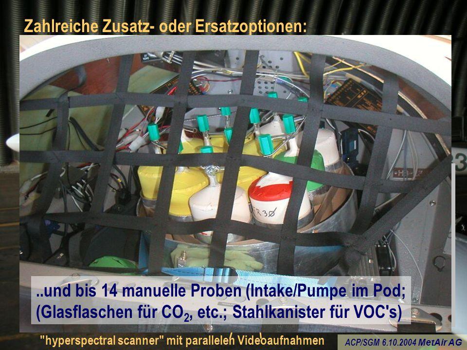 ACP/SGM 6.10.2004 MetAir AG Zahlreiche Zusatz- oder Ersatzoptionen: hyperspectral scanner mit parallelen Videoaufnahmen oder Formaldehyd (HCHO-Monitor vom PSI) statt CO 2 vom LI-6262 (schnelles CO 2 immer noch vom LI-7500) oder automatisches Sampling (Laborproben) im Pod..und bis 14 manuelle Proben (Intake/Pumpe im Pod; (Glasflaschen für CO 2, etc.; Stahlkanister für VOC s)