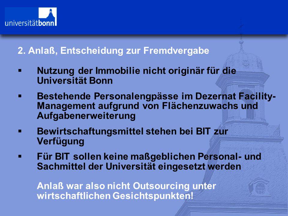 2. Anlaß, Entscheidung zur Fremdvergabe  Nutzung der Immobilie nicht originär für die Universität Bonn  Bestehende Personalengpässe im Dezernat Faci