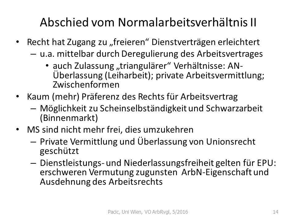 """Abschied vom Normalarbeitsverhältnis II Recht hat Zugang zu """"freieren"""" Dienstverträgen erleichtert – u.a. mittelbar durch Deregulierung des Arbeitsver"""