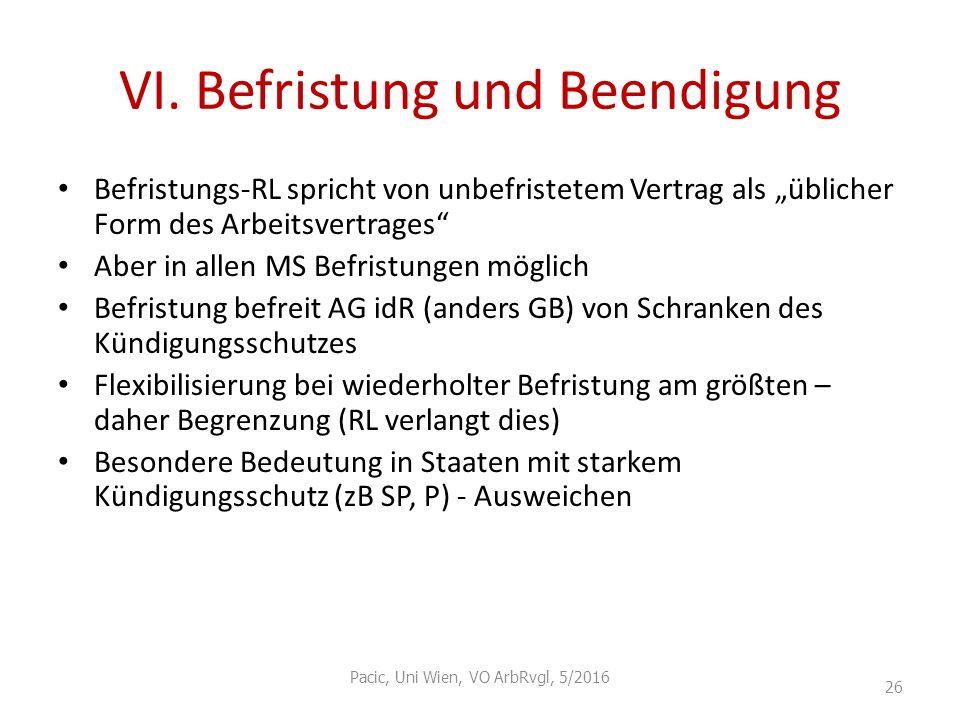 """VI. Befristung und Beendigung Befristungs-RL spricht von unbefristetem Vertrag als """"üblicher Form des Arbeitsvertrages"""" Aber in allen MS Befristungen"""