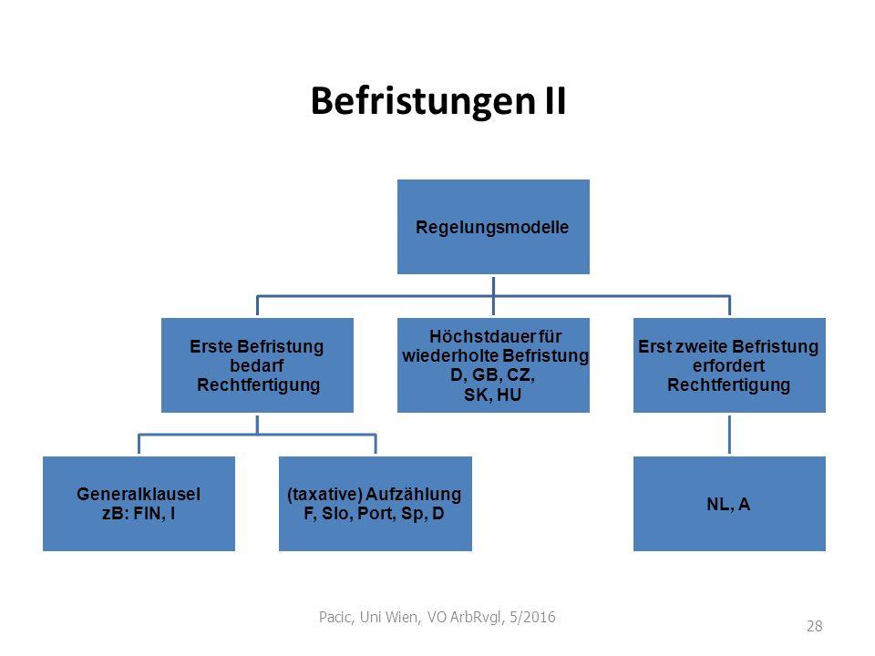 Befristungen II Pacic, Uni Wien, VO ArbRvgl, 5/2016 28 Regelungsmodelle Erste Befristung bedarf Rechtfertigung Generalklausel zB: FIN, I (taxative) Au