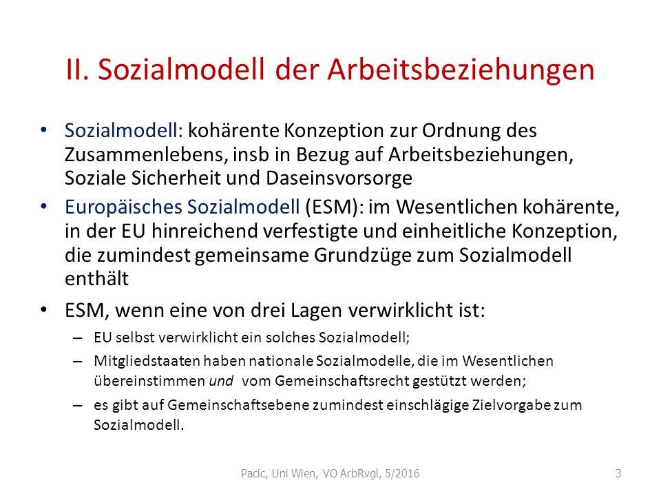 II. Sozialmodell der Arbeitsbeziehungen Sozialmodell: kohärente Konzeption zur Ordnung des Zusammenlebens, insb in Bezug auf Arbeitsbeziehungen, Sozia