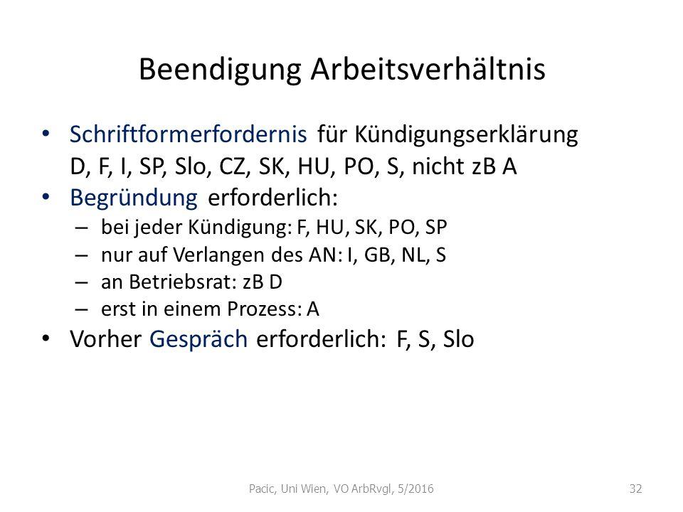 Beendigung Arbeitsverhältnis Schriftformerfordernis für Kündigungserklärung D, F, I, SP, Slo, CZ, SK, HU, PO, S, nicht zB A Begründung erforderlich: –