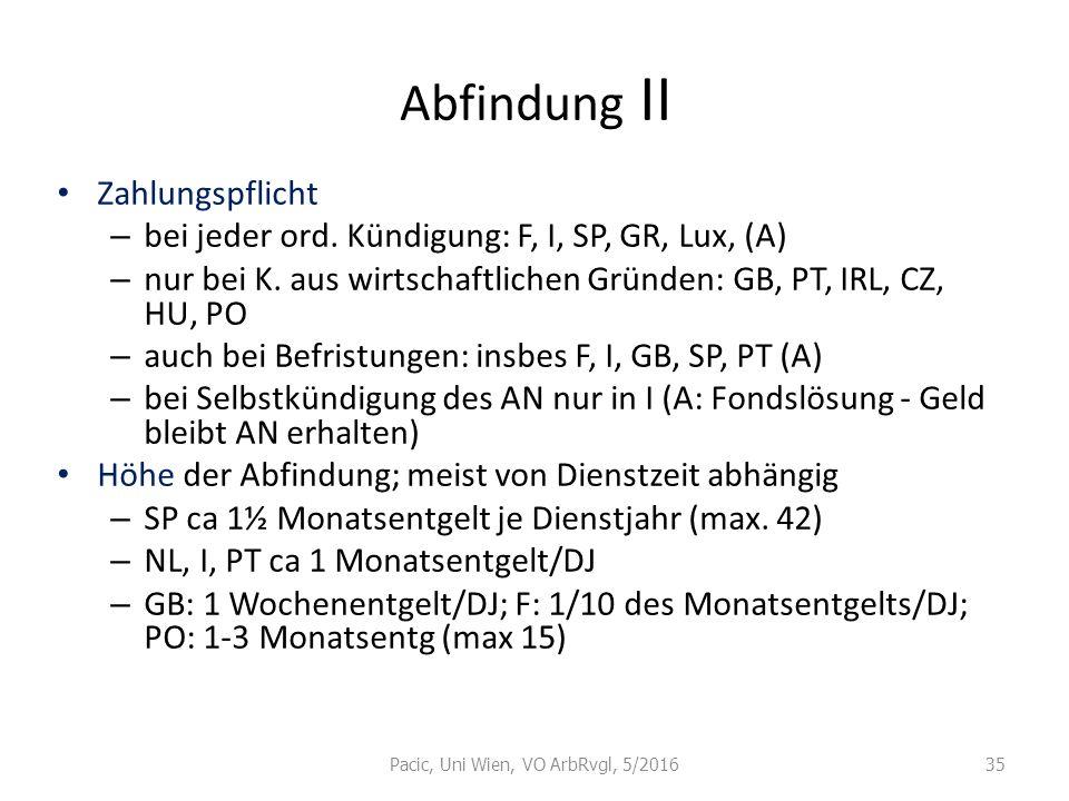 Abfindung II Zahlungspflicht – bei jeder ord. Kündigung: F, I, SP, GR, Lux, (A) – nur bei K. aus wirtschaftlichen Gründen: GB, PT, IRL, CZ, HU, PO – a
