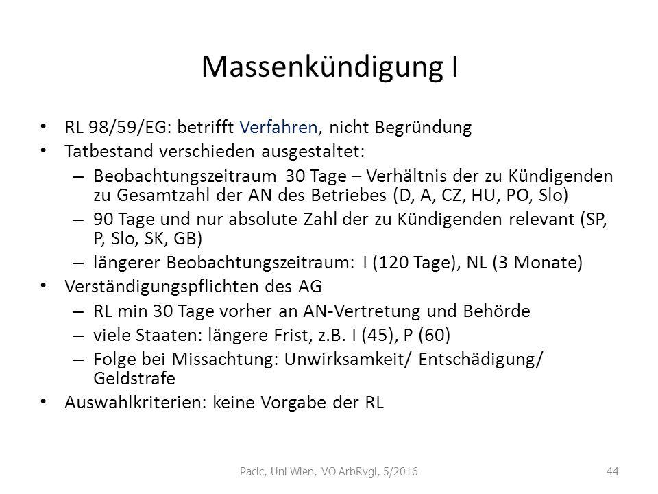 Massenkündigung I RL 98/59/EG: betrifft Verfahren, nicht Begründung Tatbestand verschieden ausgestaltet: – Beobachtungszeitraum 30 Tage – Verhältnis d