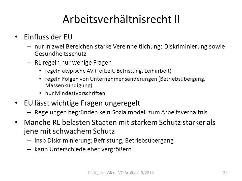 Arbeitsverhältnisrecht II Einfluss der EU – nur in zwei Bereichen starke Vereinheitlichung: Diskriminierung sowie Gesundheitsschutz – RL regeln nur we