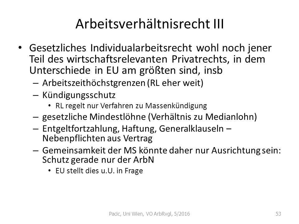 Arbeitsverhältnisrecht III Gesetzliches Individualarbeitsrecht wohl noch jener Teil des wirtschaftsrelevanten Privatrechts, in dem Unterschiede in EU
